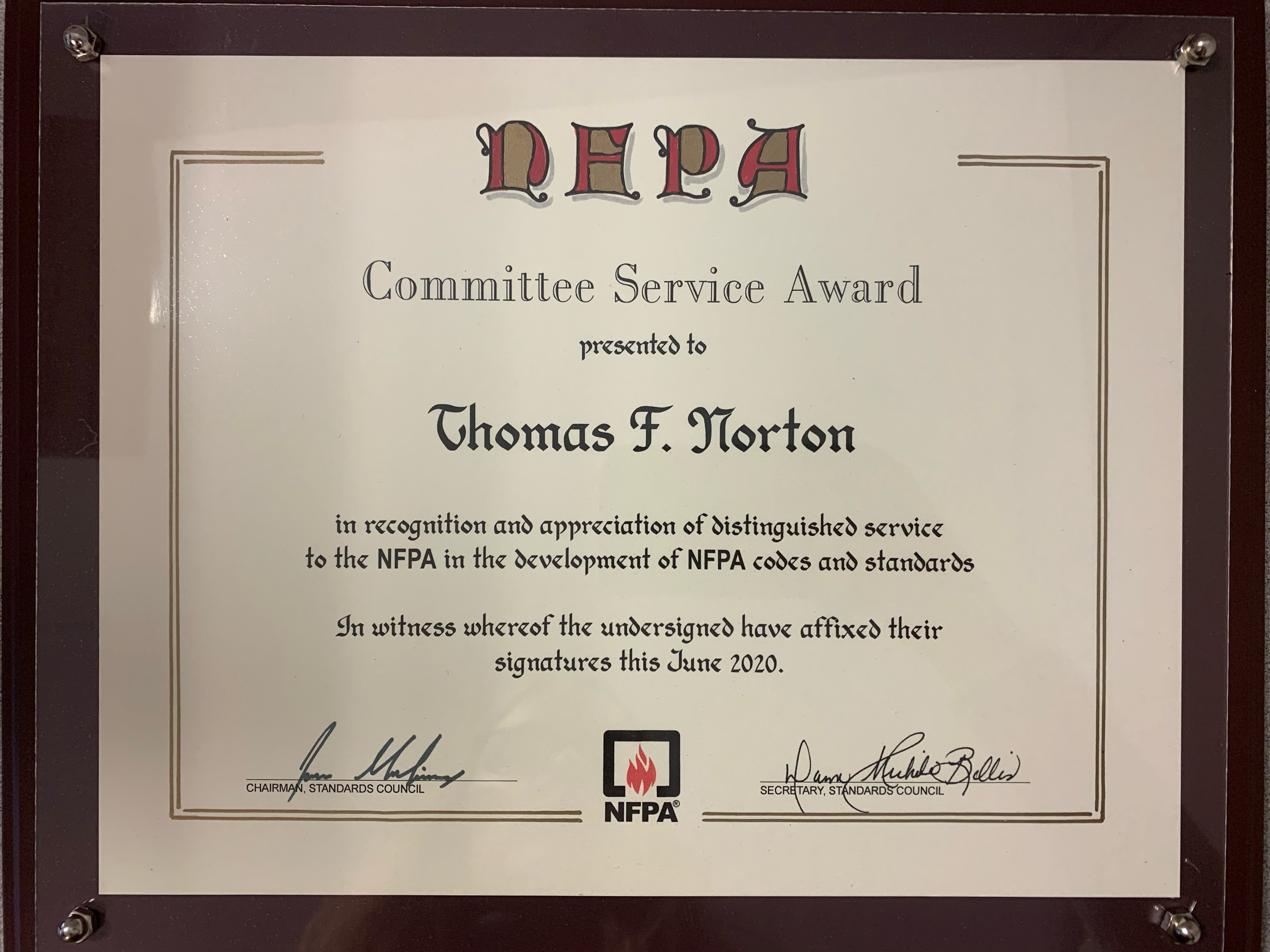 NFPA Committee Service Award